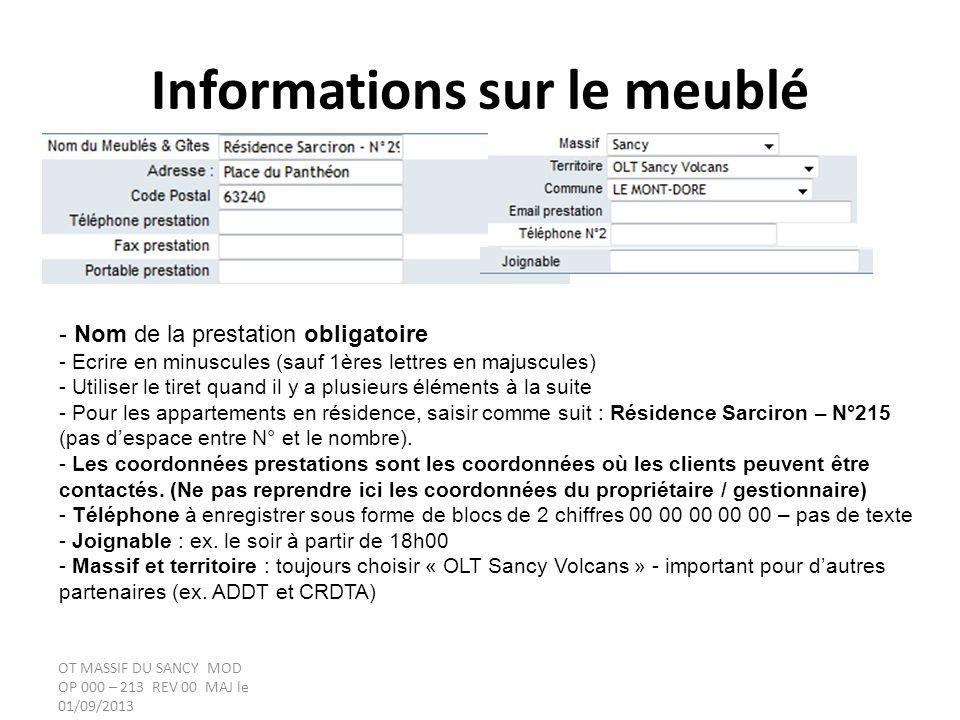 Informations sur le propriétaire / gestionnaire Important, attribuer un propriétaire et un gestionnaire à chaque fiche.