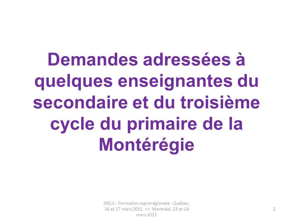 Demandes adressées à quelques enseignantes du secondaire et du troisième cycle du primaire de la Montérégie MELS - Formation suprarégionale - Québec,