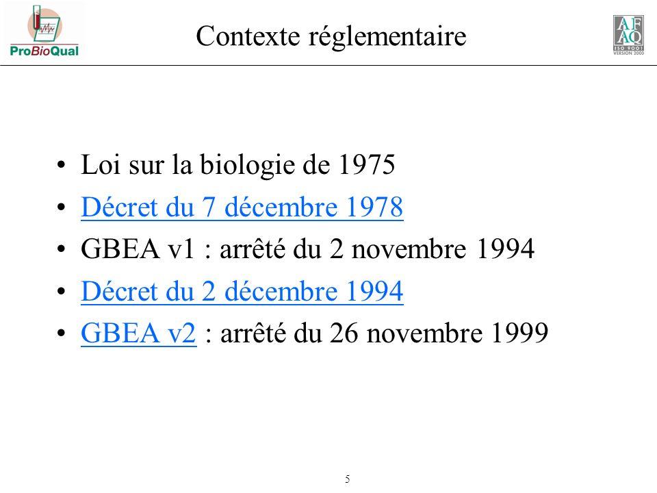 46 GBEA v2 (novembre 1999) Chapitre III – 3Validation des résultats « …La validation analytique des examens doit être soumise à des procédures précises écrites.