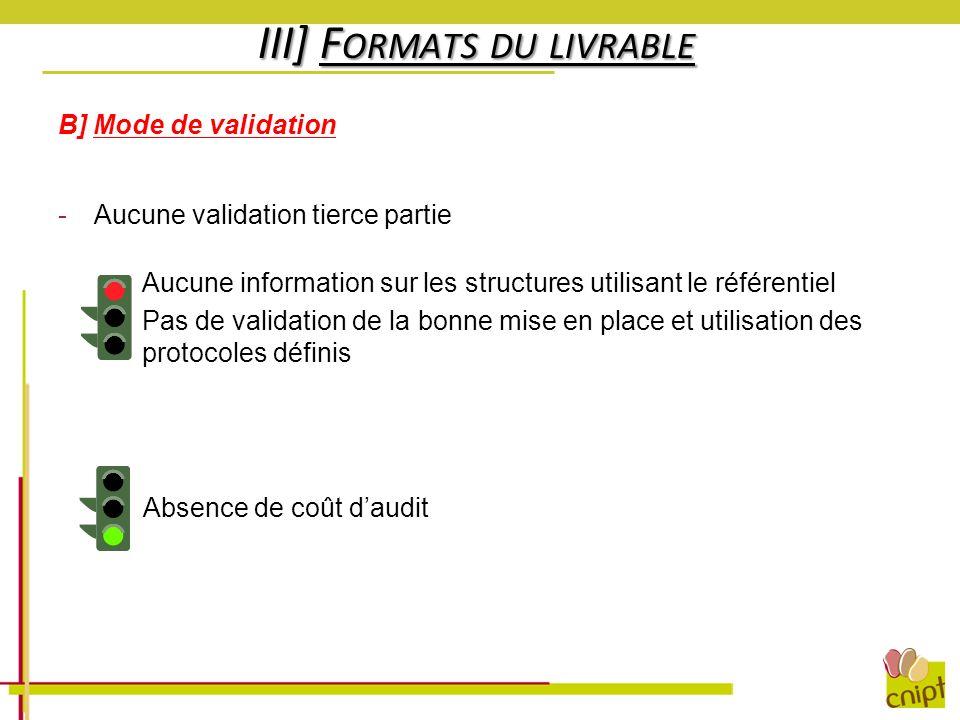 -Aucune information sur les structures utilisant le référentiel -Pas de validation de la bonne mise en place et utilisation des protocoles définis III