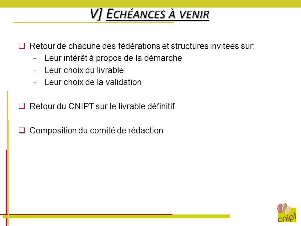 V] E CHÉANCES À VENIR Retour de chacune des fédérations et structures invitées sur: -Leur intérêt à propos de la démarche -Leur choix du livrable -Leu
