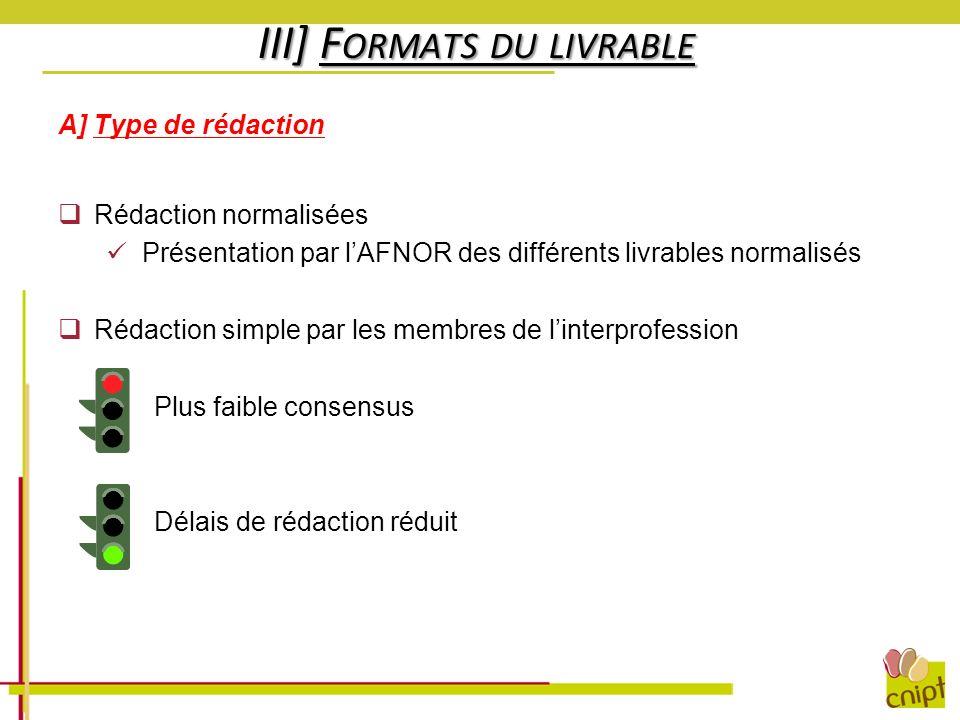 III] F ORMATS DU LIVRABLE A] Type de rédaction Rédaction normalisées Présentation par lAFNOR des différents livrables normalisés Rédaction simple par
