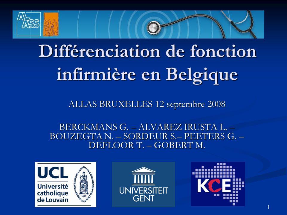 1 Différenciation de fonction infirmière en Belgique ALLAS BRUXELLES 12 septembre 2008 BERCKMANS G.