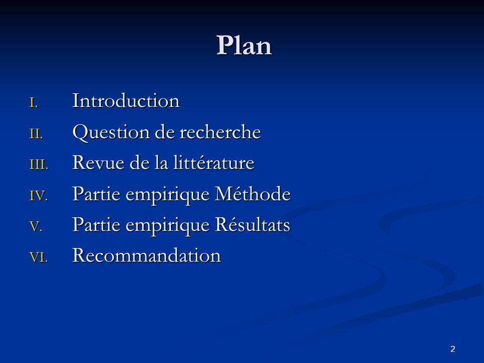 2 Plan I.Introduction II. Question de recherche III.