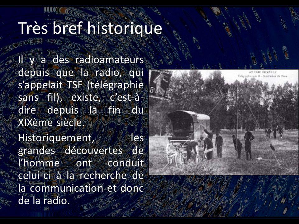 Très bref historique Il y a des radioamateurs depuis que la radio, qui sappelait TSF (télégraphie sans fil), existe, cest-à- dire depuis la fin du XIXème siècle.