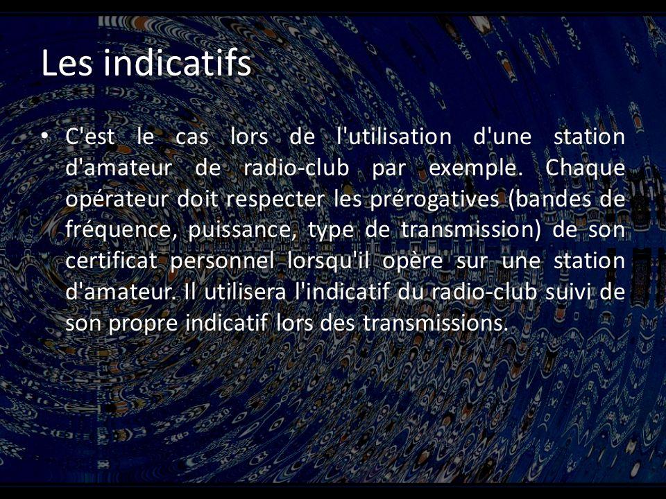 Les indicatifs C est le cas lors de l utilisation d une station d amateur de radio-club par exemple.