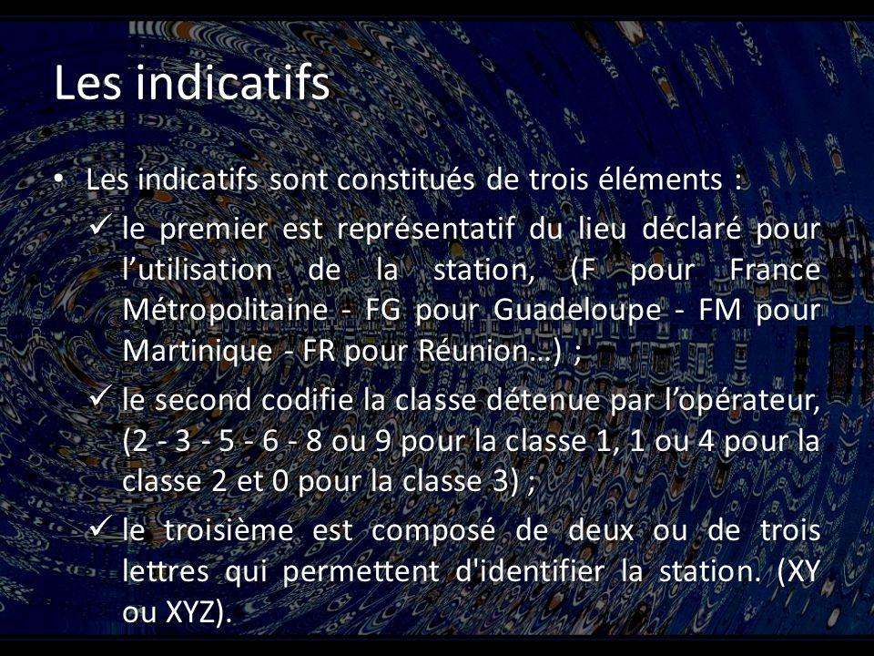 Les indicatifs Les indicatifs sont constitués de trois éléments : Les indicatifs sont constitués de trois éléments : le premier est représentatif du lieu déclaré pour lutilisation de la station, (F pour France Métropolitaine - FG pour Guadeloupe - FM pour Martinique - FR pour Réunion…) ; le premier est représentatif du lieu déclaré pour lutilisation de la station, (F pour France Métropolitaine - FG pour Guadeloupe - FM pour Martinique - FR pour Réunion…) ; le second codifie la classe détenue par lopérateur, (2 - 3 - 5 - 6 - 8 ou 9 pour la classe 1, 1 ou 4 pour la classe 2 et 0 pour la classe 3) ; le second codifie la classe détenue par lopérateur, (2 - 3 - 5 - 6 - 8 ou 9 pour la classe 1, 1 ou 4 pour la classe 2 et 0 pour la classe 3) ; le troisième est composé de deux ou de trois lettres qui permettent d identifier la station.