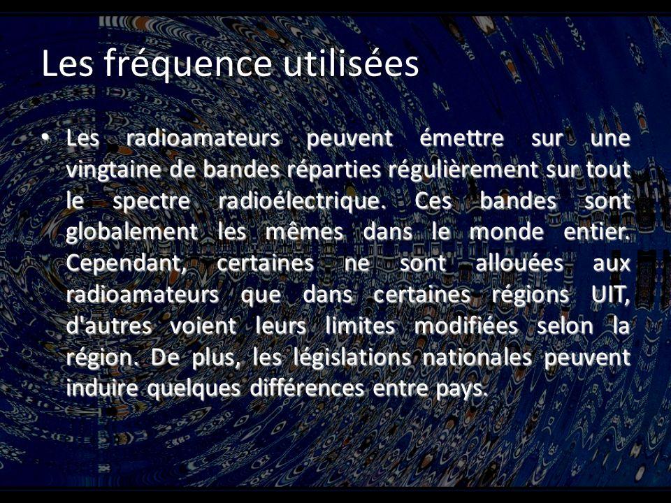 Les fréquence utilisées Les radioamateurs peuvent émettre sur une vingtaine de bandes réparties régulièrement sur tout le spectre radioélectrique.