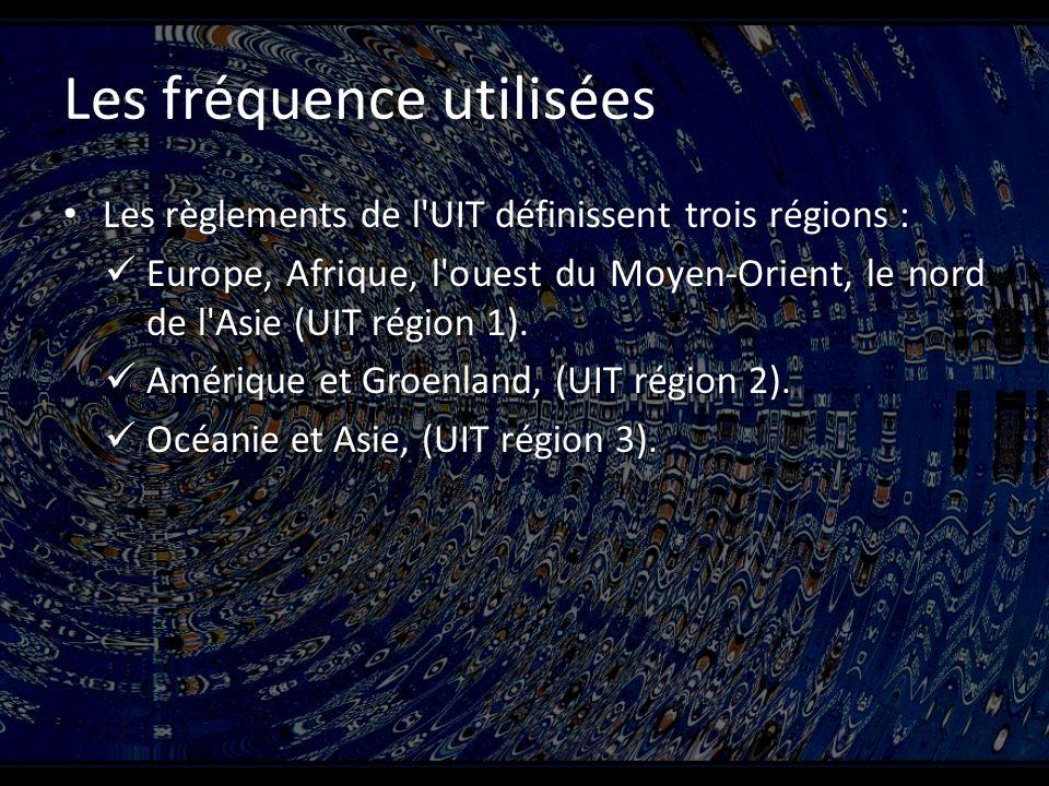 Les fréquence utilisées Les règlements de l UIT définissent trois régions : Les règlements de l UIT définissent trois régions : Europe, Afrique, l ouest du Moyen-Orient, le nord de l Asie (UIT région 1).