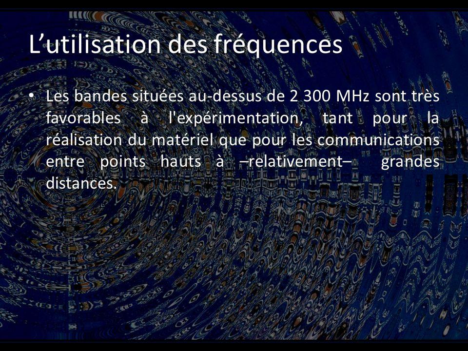 Lutilisation des fréquences Les bandes situées au-dessus de 2 300 MHz sont très favorables à l expérimentation, tant pour la réalisation du matériel que pour les communications entre points hauts à –relativement– grandes distances.