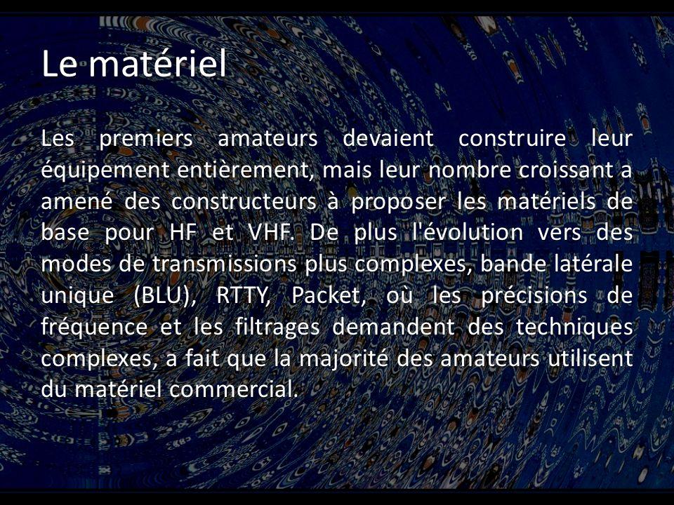 Le matériel Les premiers amateurs devaient construire leur équipement entièrement, mais leur nombre croissant a amené des constructeurs à proposer les matériels de base pour HF et VHF.