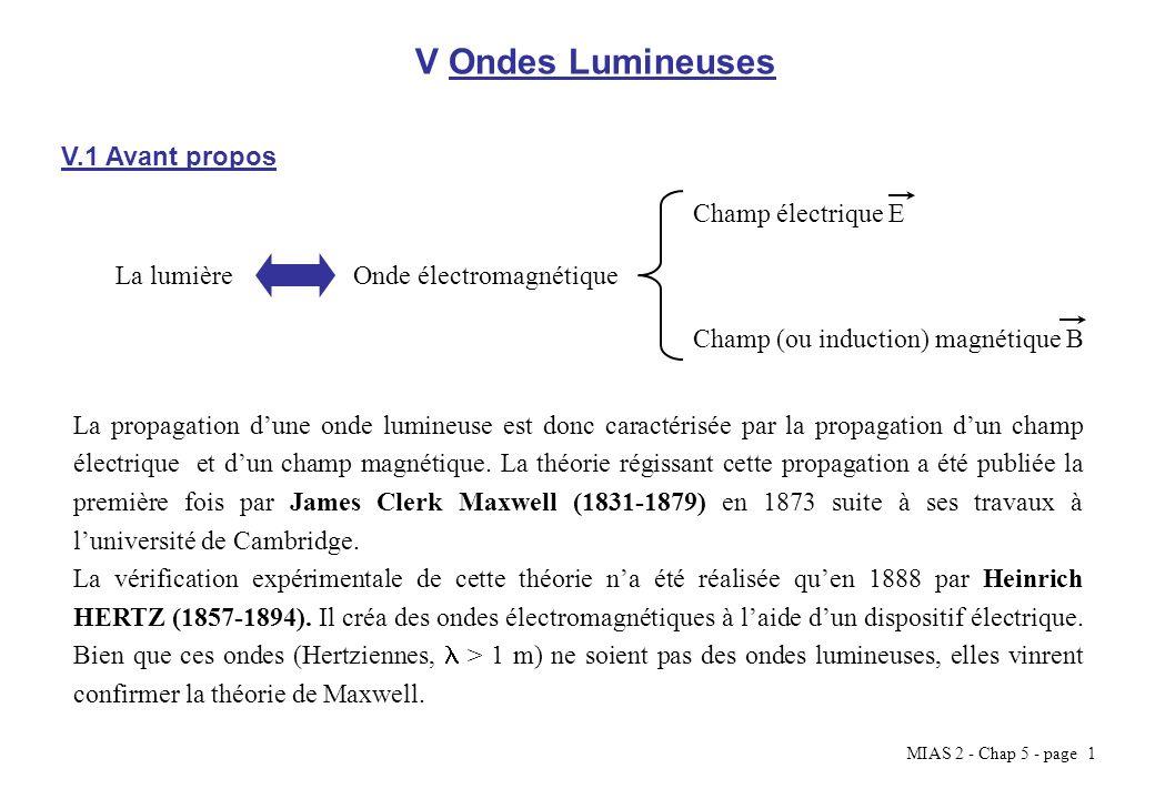 MIAS 2 - Chap 5 - page 1 V Ondes Lumineuses V.1 Avant propos La lumièreOnde électromagnétique Champ électrique E Champ (ou induction) magnétique B La