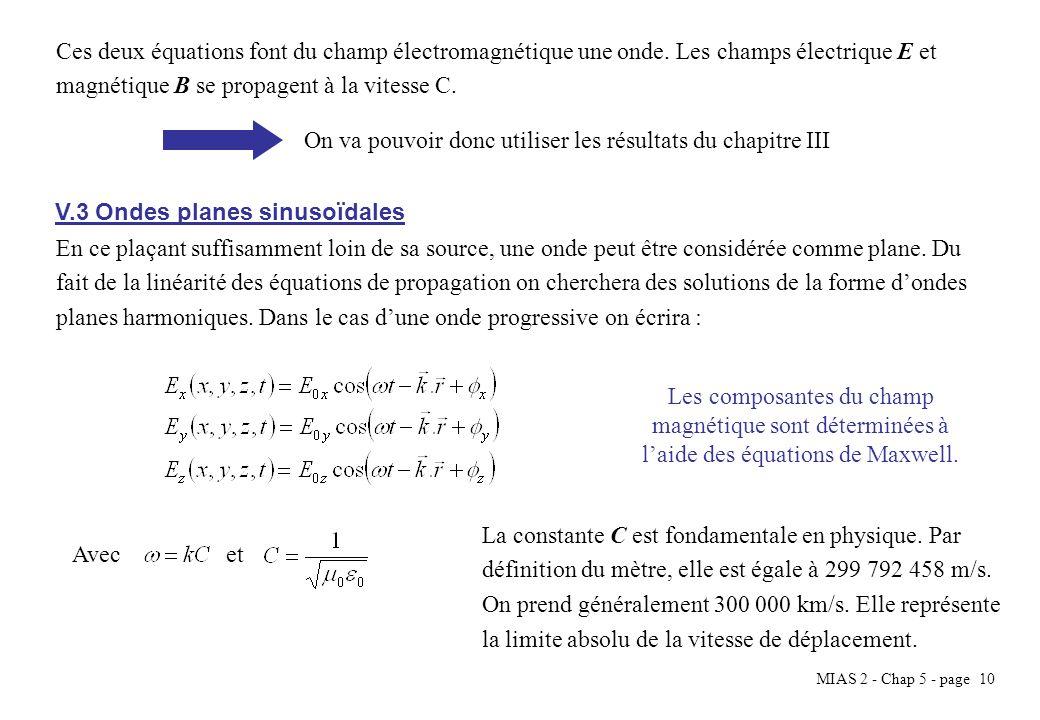 MIAS 2 - Chap 5 - page 10 Ces deux équations font du champ électromagnétique une onde. Les champs électrique E et magnétique B se propagent à la vites