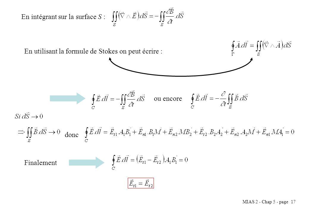 MIAS 2 - Chap 5 - page 17 En intégrant sur la surface S : En utilisant la formule de Stokes on peut écrire : ou encore donc Finalement