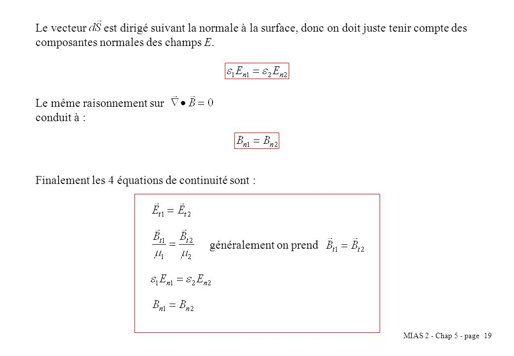 MIAS 2 - Chap 5 - page 19 Le vecteur est dirigé suivant la normale à la surface, donc on doit juste tenir compte des composantes normales des champs E