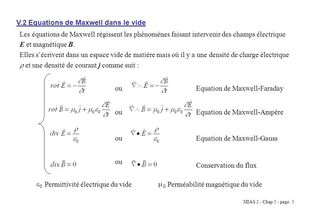 MIAS 2 - Chap 5 - page 5 V.2 Equations de Maxwell dans le vide ou Les équations de Maxwell régissent les phénomènes faisant intervenir des champs élec