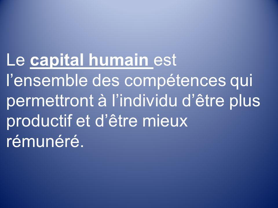 Le capital humain est lensemble des compétences qui permettront à lindividu dêtre plus productif et dêtre mieux rémunéré.