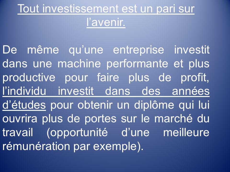 Tout investissement est un pari sur lavenir.