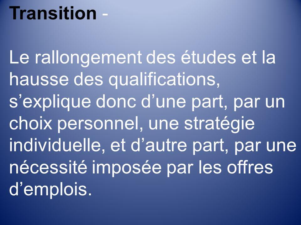 Transition - Le rallongement des études et la hausse des qualifications, sexplique donc dune part, par un choix personnel, une stratégie individuelle, et dautre part, par une nécessité imposée par les offres demplois.