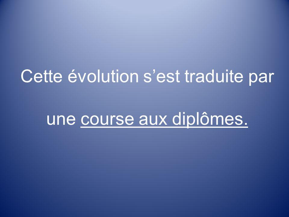 Cette évolution sest traduite par une course aux diplômes.