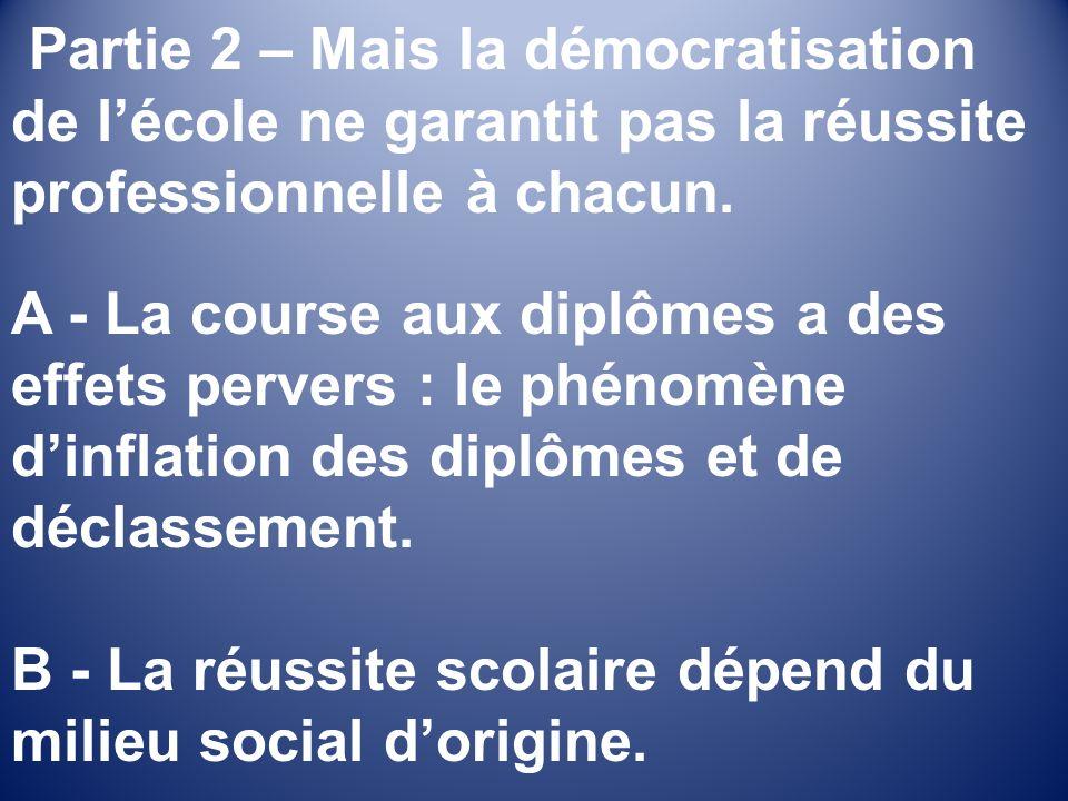 Partie 2 – Mais la démocratisation de lécole ne garantit pas la réussite professionnelle à chacun.