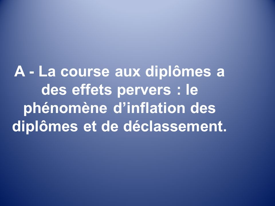 A - La course aux diplômes a des effets pervers : le phénomène dinflation des diplômes et de déclassement.