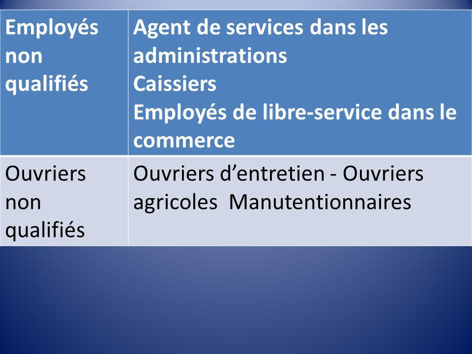 Employés non qualifiés Agent de services dans les administrations Caissiers Employés de libre-service dans le commerce Ouvriers non qualifiés Ouvriers dentretien - Ouvriers agricoles Manutentionnaires