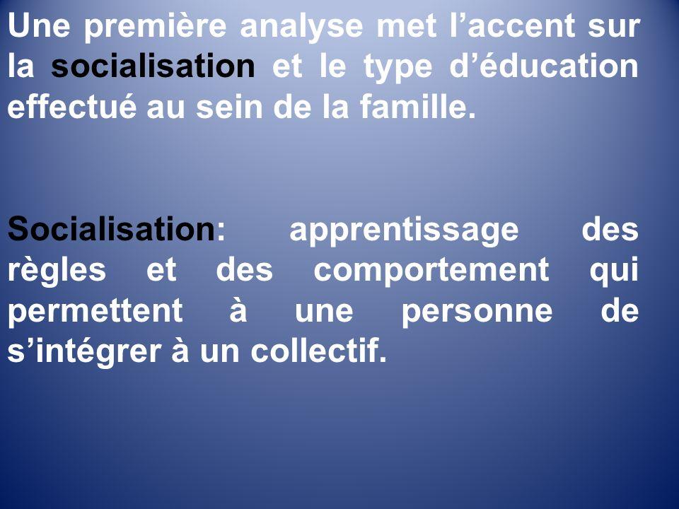 Une première analyse met laccent sur la socialisation et le type déducation effectué au sein de la famille.
