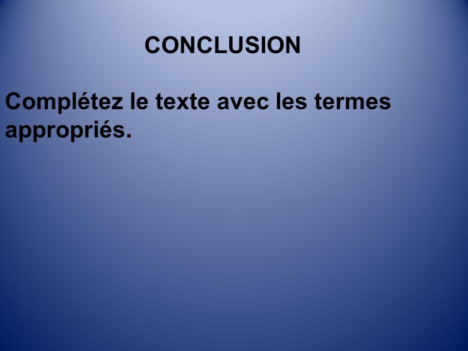 CONCLUSION Complétez le texte avec les termes appropriés.
