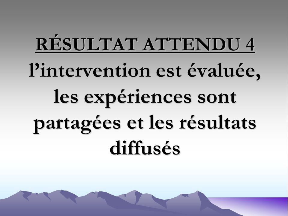 RÉSULTAT ATTENDU 4 lintervention est évaluée, les expériences sont partagées et les résultats diffusés