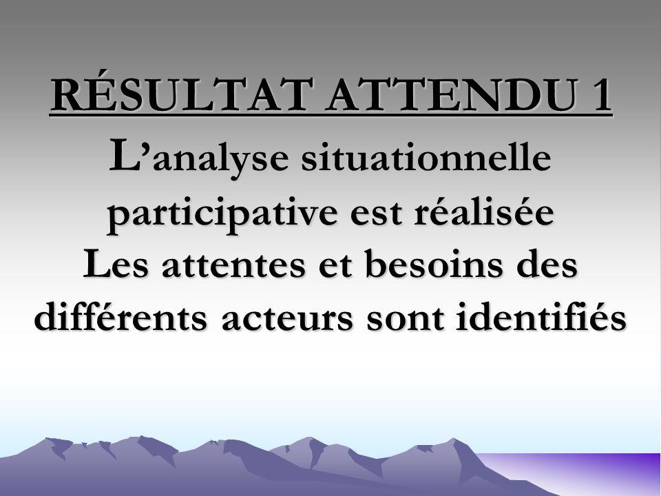 RÉSULTAT ATTENDU 1 L analyse situationnelle participative est réalisée Les attentes et besoins des différents acteurs sont identifiés