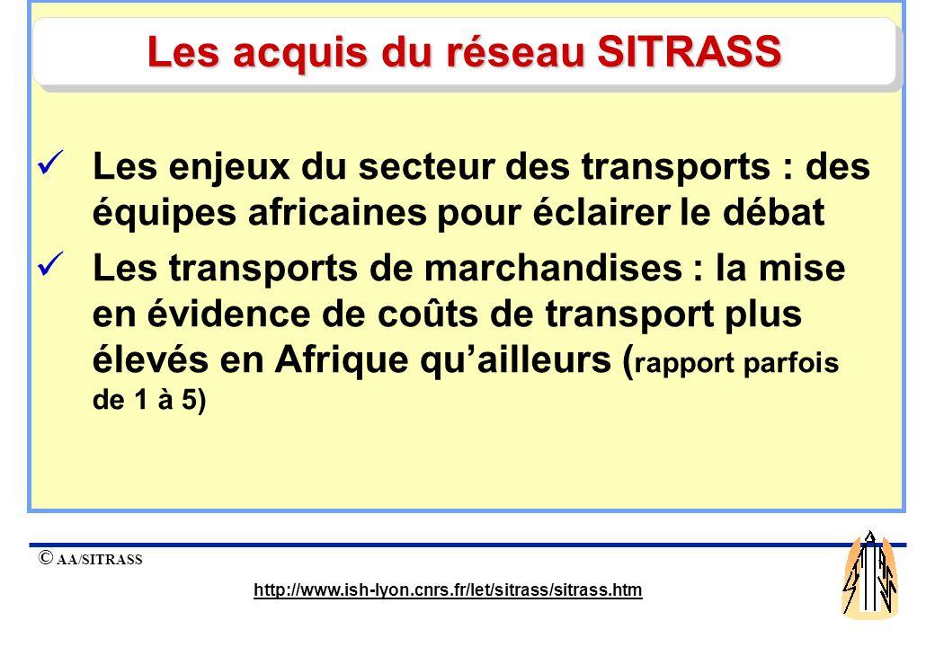 © AA/SITRASS http://www.ish-lyon.cnrs.fr/let/sitrass/sitrass.htm Les enjeux du secteur des transports : des équipes africaines pour éclairer le débat Les transports de marchandises : la mise en évidence de coûts de transport plus élevés en Afrique quailleurs ( rapport parfois de 1 à 5) Les acquis du réseau SITRASS