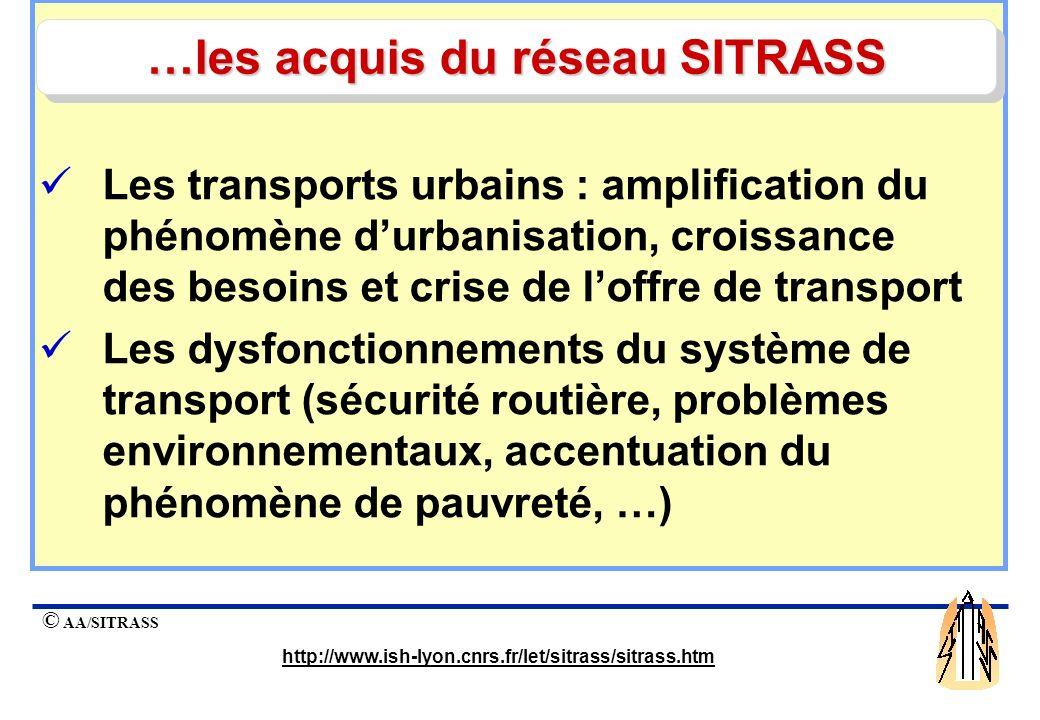 © AA/SITRASS http://www.ish-lyon.cnrs.fr/let/sitrass/sitrass.htm Les enjeux du secteur des transports : des équipes africaines pour éclairer le débat