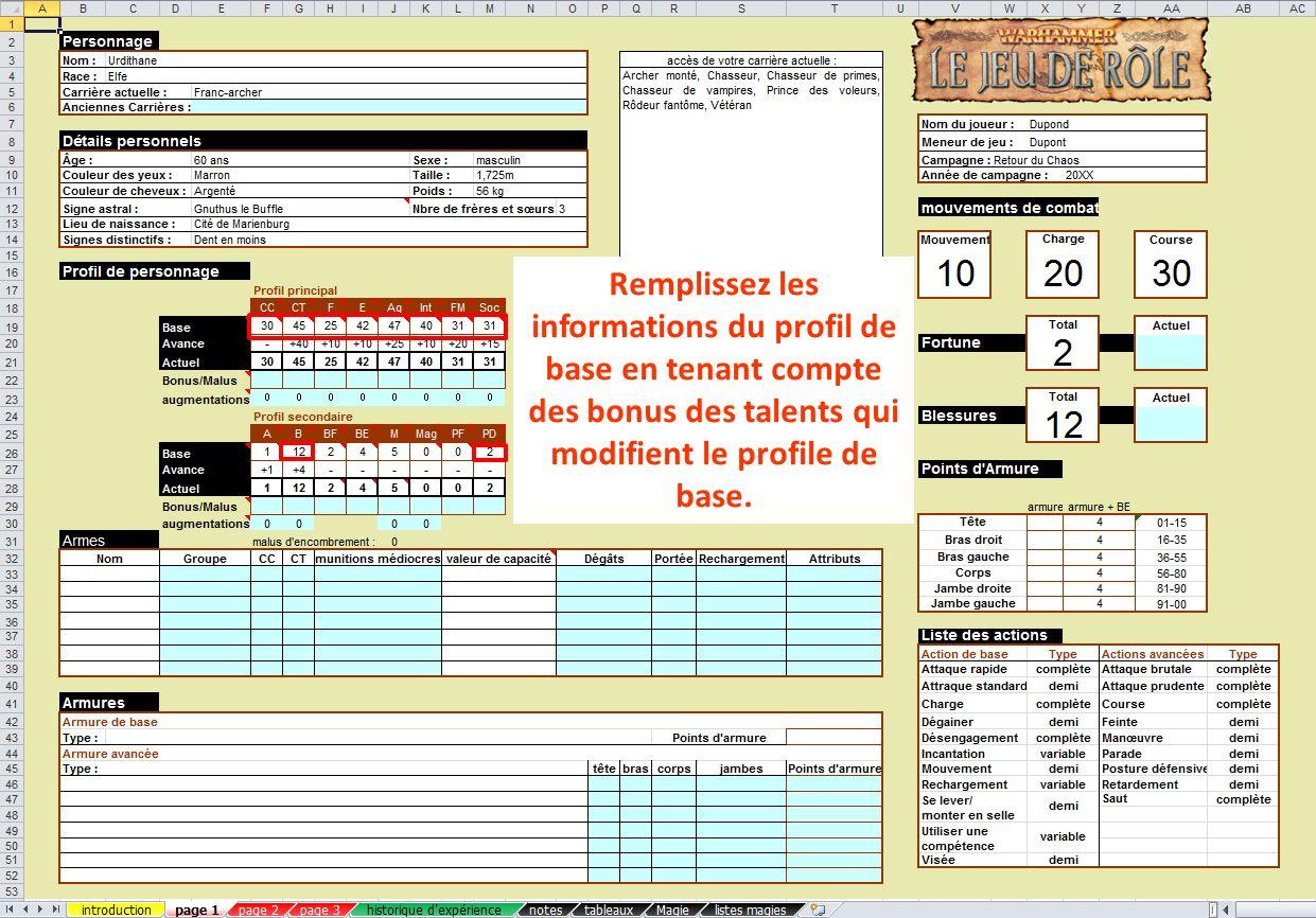 Remplissez les informations du profil de base en tenant compte des bonus des talents qui modifient le profile de base.