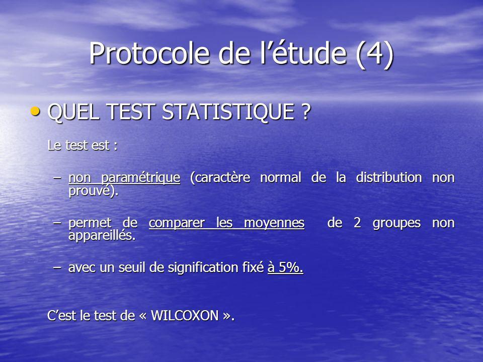 Protocole de létude (4) QUEL TEST STATISTIQUE .QUEL TEST STATISTIQUE .