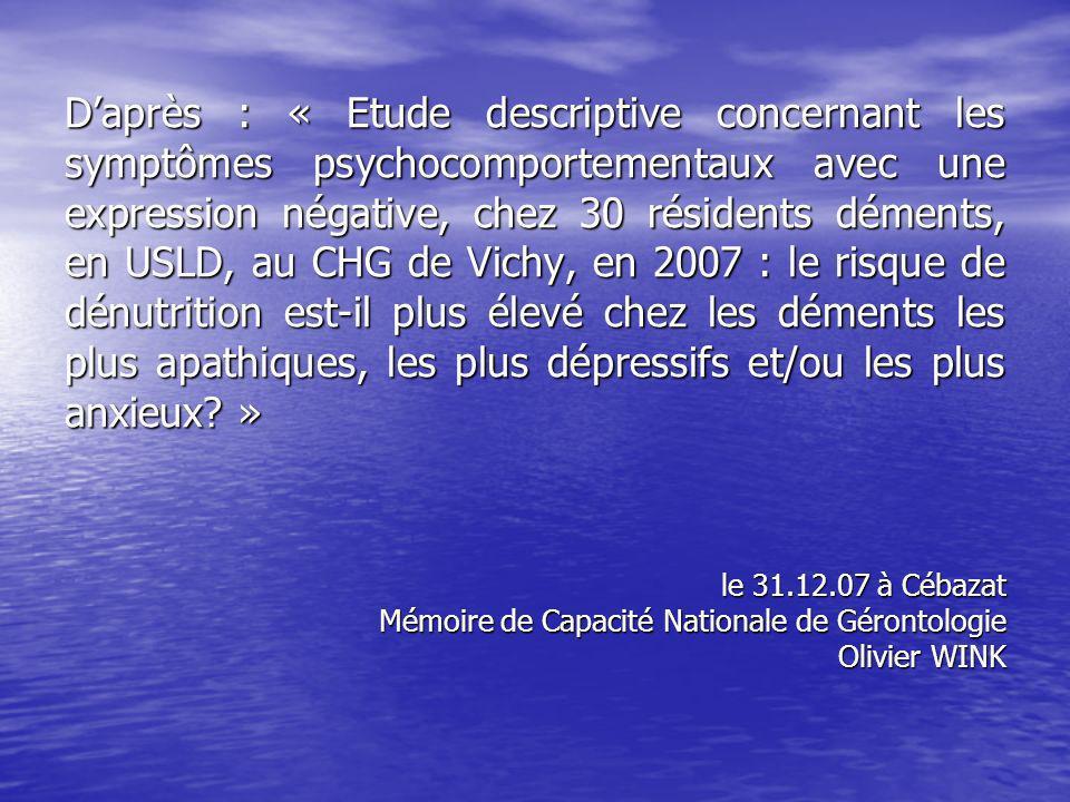 Daprès : « Etude descriptive concernant les symptômes psychocomportementaux avec une expression négative, chez 30 résidents déments, en USLD, au CHG de Vichy, en 2007 : le risque de dénutrition est-il plus élevé chez les déments les plus apathiques, les plus dépressifs et/ou les plus anxieux.