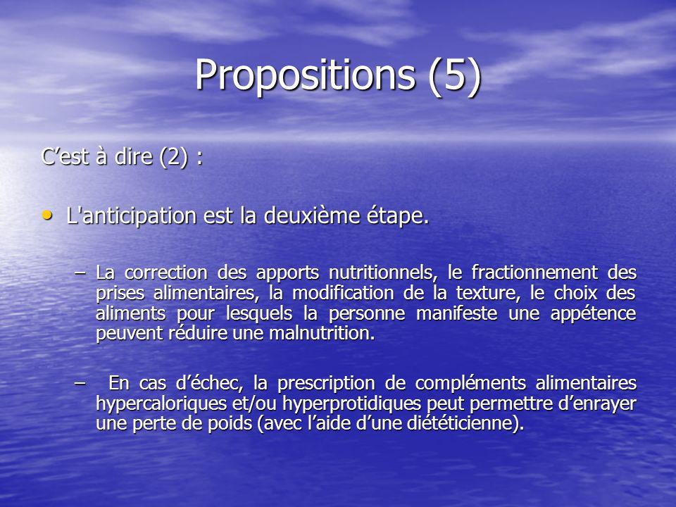 Propositions (5) Cest à dire (2) : L anticipation est la deuxième étape.