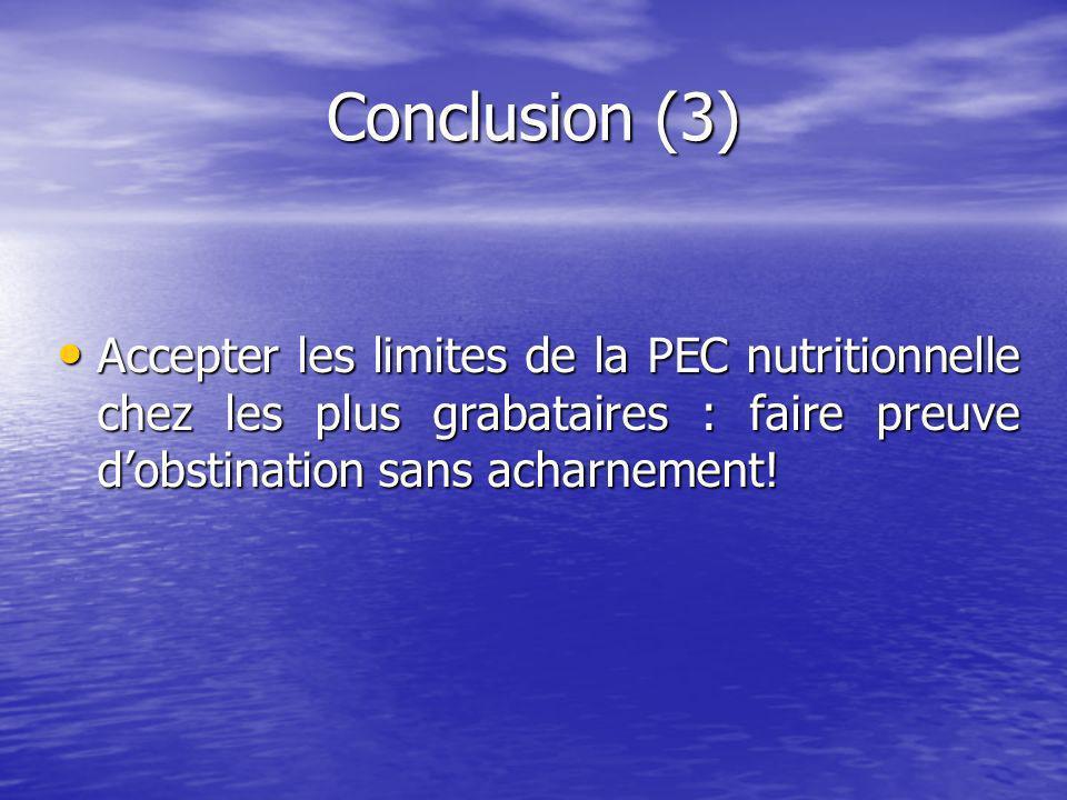 Conclusion (3) Accepter les limites de la PEC nutritionnelle chez les plus grabataires : faire preuve dobstination sans acharnement.