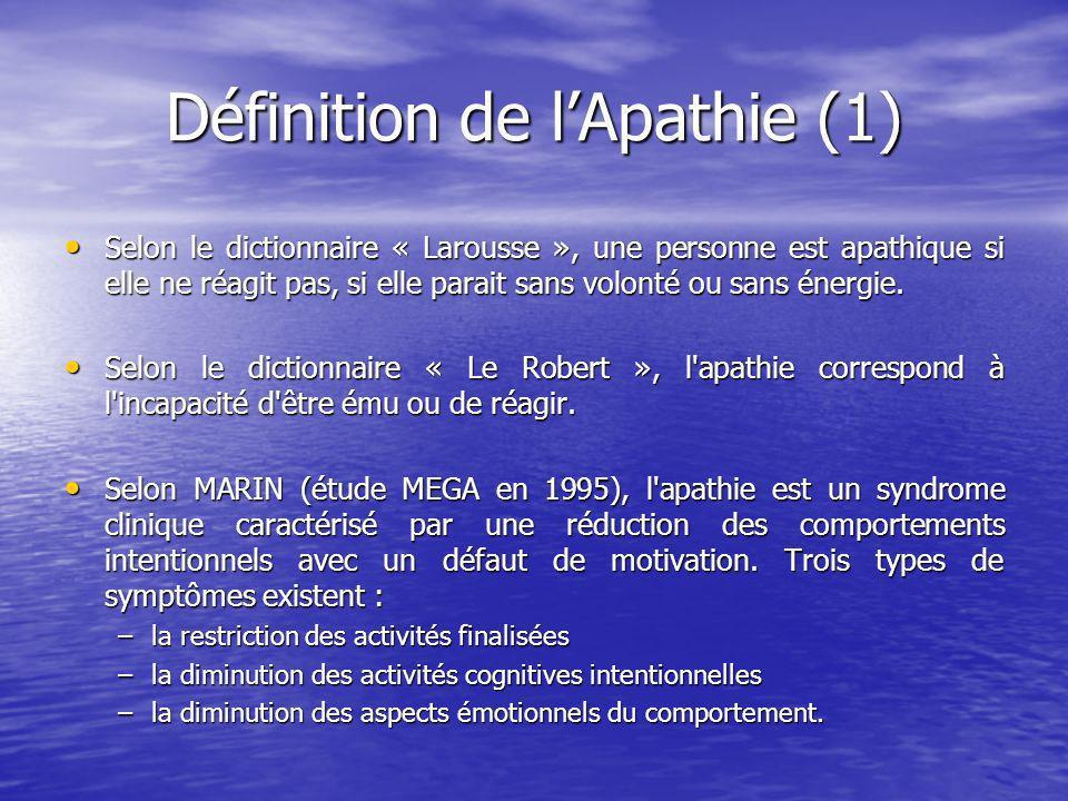 Définition de lApathie (1) Selon le dictionnaire « Larousse », une personne est apathique si elle ne réagit pas, si elle parait sans volonté ou sans énergie.
