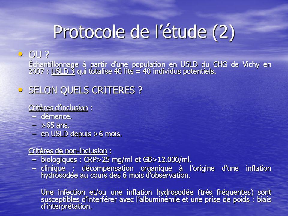 Protocole de létude (2) OU .OU .