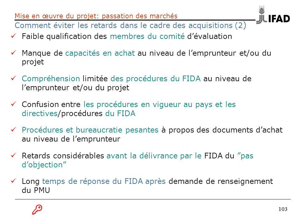 103 Mise en œuvre du projet: passation des marchés Comment éviter les retards dans le cadre des acquisitions (2 ) Faible qualification des membres du