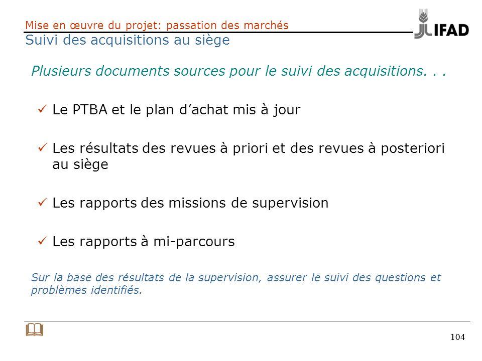 104 Mise en œuvre du projet: passation des marchés Suivi des acquisitions au siège Plusieurs documents sources pour le suivi des acquisitions... Le PT