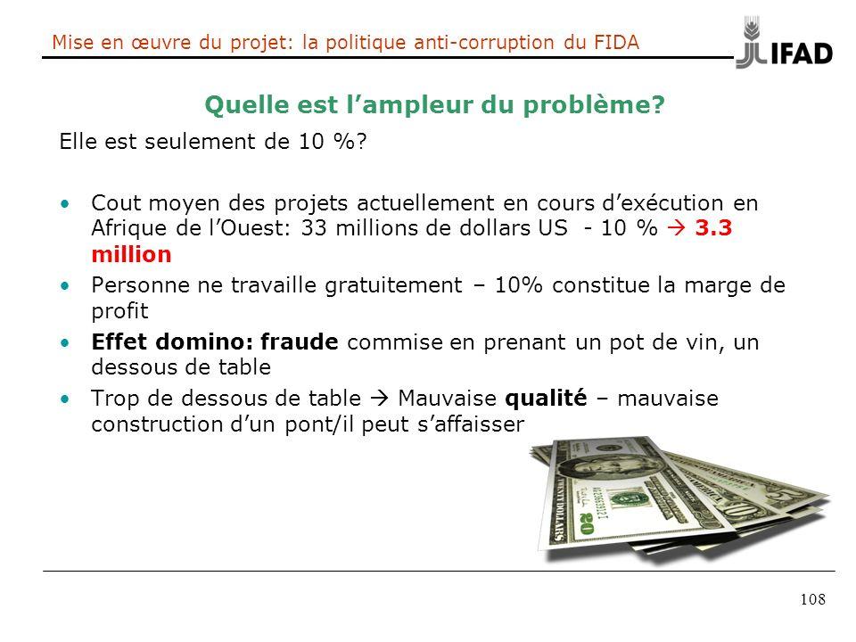 108 Mise en œuvre du projet: la politique anti-corruption du FIDA Quelle est lampleur du problème? Elle est seulement de 10 %? Cout moyen des projets