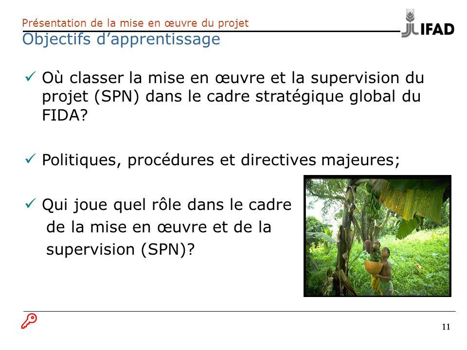 11 Présentation de la mise en œuvre du projet Objectifs dapprentissage Où classer la mise en œuvre et la supervision du projet (SPN) dans le cadre str