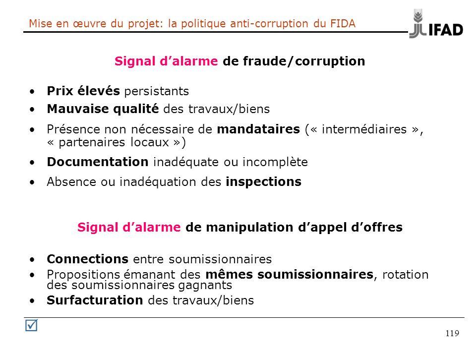 119 Mise en œuvre du projet: la politique anti-corruption du FIDA Signal dalarme de fraude/corruption Prix élevés persistants Mauvaise qualité des tra