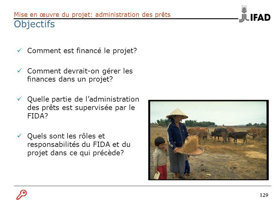 129 Comment est financé le projet? Comment devrait-on gérer les finances dans un projet? Quelle partie de ladministration des prêts est supervisée par