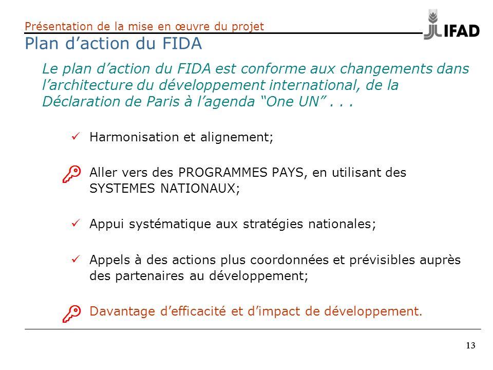 13 Le plan daction du FIDA est conforme aux changements dans larchitecture du développement international, de la Déclaration de Paris à lagenda One UN
