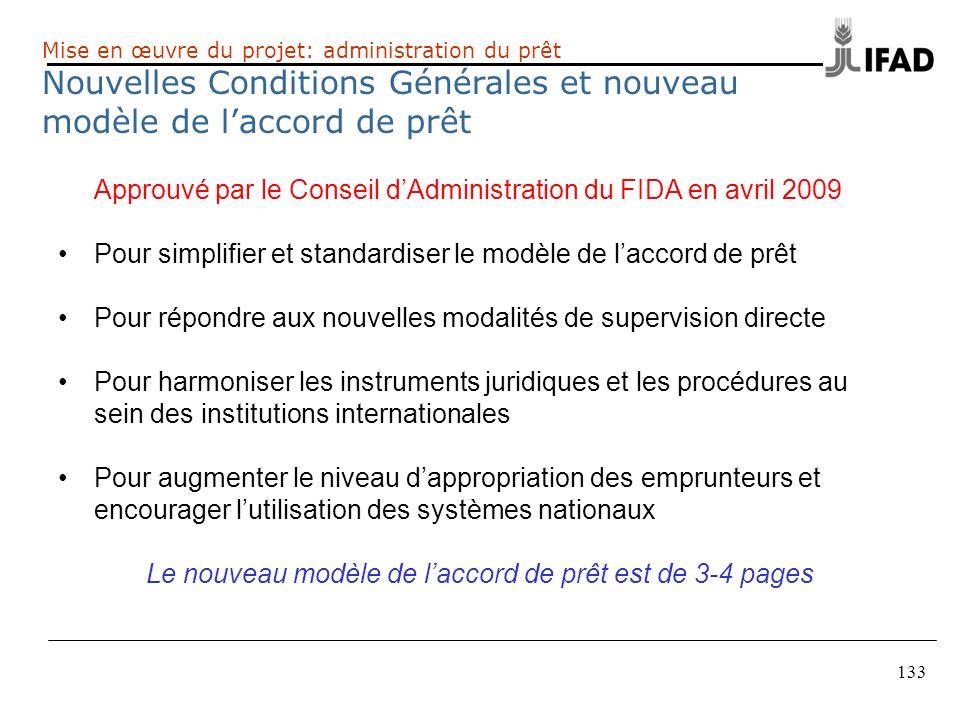 133 Approuvé par le Conseil dAdministration du FIDA en avril 2009 Pour simplifier et standardiser le modèle de laccord de prêt Pour répondre aux nouve