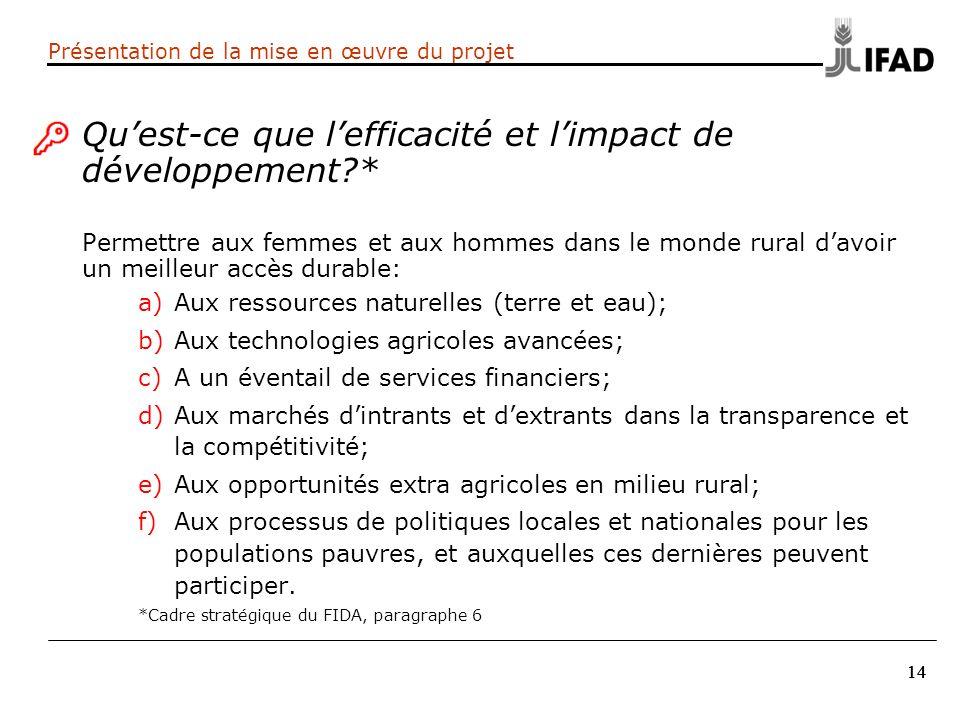 14 Quest-ce que lefficacité et limpact de développement?* Permettre aux femmes et aux hommes dans le monde rural davoir un meilleur accès durable: a)A
