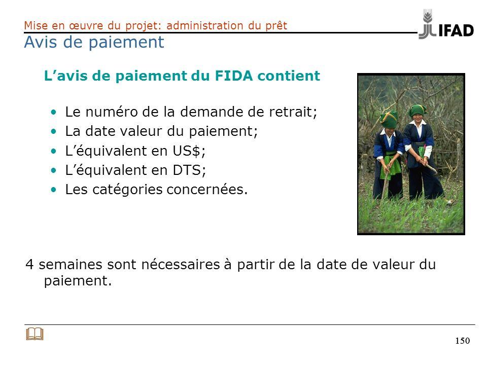 150 Lavis de paiement du FIDA contient Le numéro de la demande de retrait; La date valeur du paiement; Léquivalent en US$; Léquivalent en DTS; Les cat